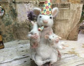 Whimsical Needle Felted Mama Mouse and Babies Birthday Party!
