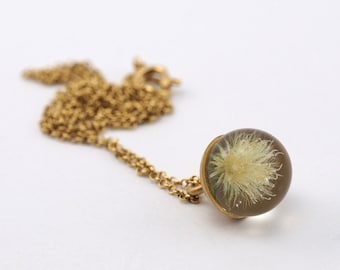 Mini Dandelion Necklace, Gold Plated Silver Pendant, Resin Jewellery,