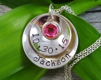 Hand Stamped Jewelry - Personalized Jewelry - New Mom Necklace - Sterling Silver Necklace - One Name One Birthstone and Birthday - Cupped