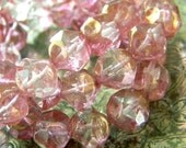 Iced Peony (10) -Czech Glass Central Cut Rounds 9mm