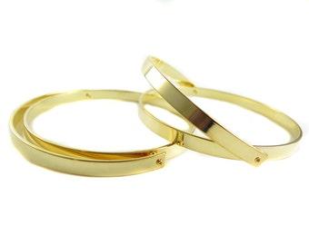 Gold Plated Round Hinge Cuff  - (1x) (K740)