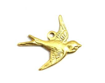 Brass Sparrow Bird Charms - RIGHT Facing - (4X) (M774)