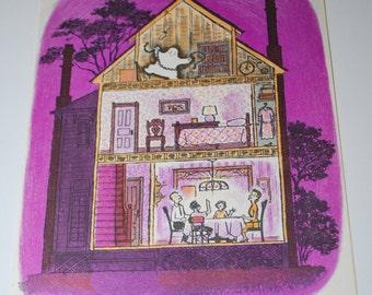 Gus a Friendly Ghost Original Vintage Children's Illustration 1961 Colorful, fun, Wall Decor, Ephemera