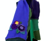 SALE Jewel Tones Whimsical Art To Wear Patchwork Scarf Ruffled Recycled Wool Cashmere Cotton Sweaters