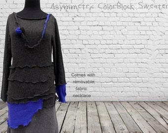 SALE Cashmere Tunic Sweater M/L Medium Large Colorblock Recycled Ruffled