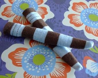 Blythe / DAL Socks -  Wide Sky Blue + Brown Stripes
