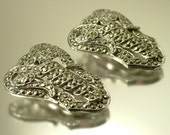 Pair of vintage/ antique Art Deco / 1930s,1940s geometric chrome plated and marcasite dress clip - jewelry / jewellery