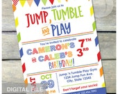 "Gymnastics Birthday Invitation Jump Tumble Play Joint Brother Sister Boys or Girls Blue Party - DIGITAL Printable Invite - 5"" x 7"""