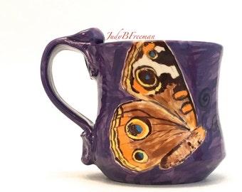 Ceramic Butterfly Mug Common Buckeye on Amethyst Stoneware Handmade Wheel Thrown Made to Order MG0064