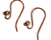 Copper Ear Wires, 17mm fishhook with 2mm ball and open loop, 20 gauge - Three pairs