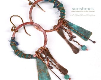 Hammered  Earrings with Sari Silk and Turquoise  - Gypsy, Boho E891