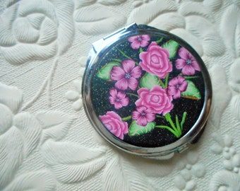 Polymer Clay Floral Covered Pocket Mirror - Black and Pinks