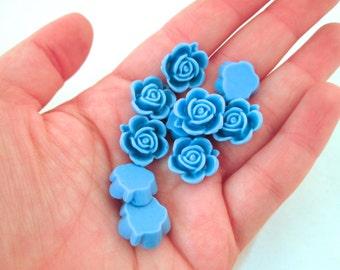 10 15mm Sky Blue Rose Cabochons