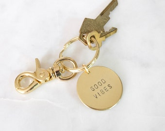 LARGE Word Brass Keychain Hand Stamped