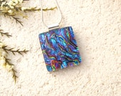 Dichroic Jewelry, Aqua Pink Green Gold Necklace, Fused Glass Jewelry, Dichroic Glass Pendant, Aqua Blue Green Necklace,  Necklace 052416p104