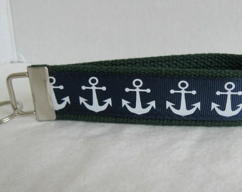 Anchors Key Fob - Anchors on HUNTER Key Ring -  Nautical Key Chain - Navy Hunter Green - Beach Keychain