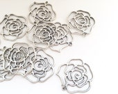 5 Large Silver Rose Charms - Flower Connector Pendants