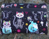 Cats mini wallet, optional wristlet, shoulder strap or belt bag, iPhone 6 wallet, Day of the Dead Cats, Wisteria
