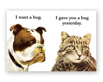 Bulldog Hug - Magnet - Humor - Gift - Stocking Stuffer - Dog - Cat