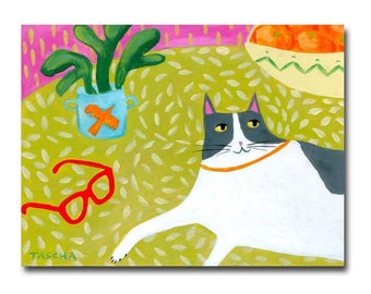GRAY Tuxedo Cat folk art painting cat on table with plant and orange and red glasses Cute cat art by artist Tascha