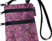 Ella Bella Purse - Cross body Purse - 3 Zippered Pocket - Adjustable Strap - Washable - FAST SHIPPING - Cell Phone Purse - Wine Batik Fabric