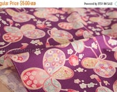 Japanese fabric butterfly cords cotton crepe - purple