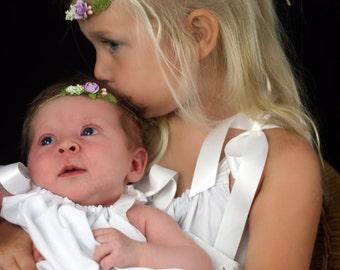 White or Antique white-ivory pillowcase dress with eyelet trim sizes 0 infant to 10 girls