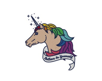 Whimsical Believe Unicorn  Machine Embroidery File design 4x4 inch hoop