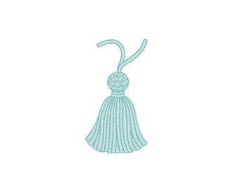Whimsical Vintage Tassel Machine Embroidery File design 4x4 inch hoop