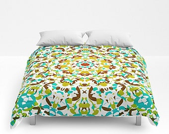 Mandala Art, Boho Bedding, Bed Cover, King Comforter, Green And Yellow, Queen Bed Cover, Full Comforter, Modern Bedding, Art Bedding
