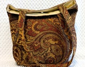 Woven Chenille Brocade Paisley Fabric Handbag Purse, Shoulder Bag, Large Handmade Purse, Handmade Gift for Her, Large Carry All Tote Bag