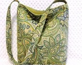 Paisley Sling Slouch Purse Hobo Bag Handbag Handmade Everyday Floral Ladies Pocketbook in Green Blue and Yellow Home Decor Fabric Bag