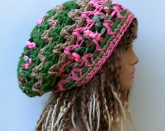Super Thick Slouchy beanie hat BoHo Chunky Hippie Hat pink green beige bohemian beanie woman beanie dread tam hat, open weave slouch hipster