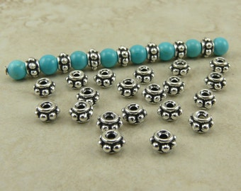 20 TierraCast 5mm Beaded Heishi Spacer Beads > Ornate Bali Style Turkish - Fine Silver Plated Lead Free Pewter - I ship Internationally 5582