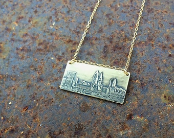 Cleveland Ohio skyline necklace   Cleveland skyline pendant   etched copper pendant   etched brass pendant   jewelry for her