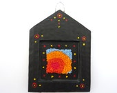 Tiny Punch Needle Embroidery and Papier Mȃché Hanging Decoration - House Shape With Abstract Pattern