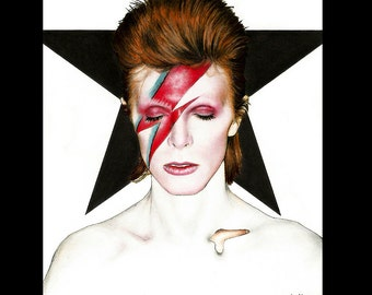 "Print 8x10"" - David Bowie - Aladdin Sane Space Odditty Glam Rock Gothic British Ziggy Stardust Guitar New Wave Iggy Pop Blackstar Pop Art"