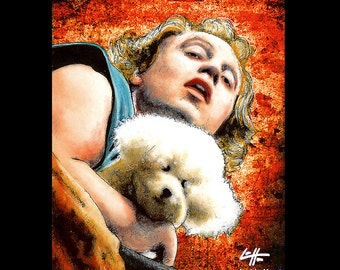"""Print 5x7"""" - It puts the lotion in the basket - Buffalo Bill Silence of the Lambs Hannibal Lecter Ted Levine Dark Art Horror Pop Art Dog"""
