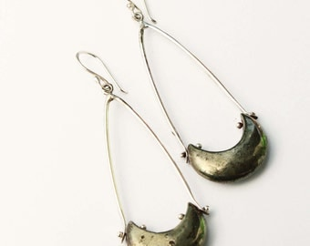 Pinned Pyrite Crescent Long Dangle Earrings