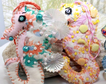 Choose from 2 - Sweety-of-the-Sea Sea Horsie Quilty Critter - Buyers Choice - OOAK, Novelty, Ornament, Gift