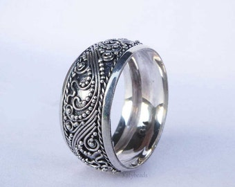 9mm  wide Band Ocean Waves Bali Ornate Sterling Silver Ring AR13