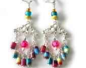 Tropical  Multicolored Earrings, Silver Chandelier, Hot Pink, Aqua Blue, Yellow, Turquoise, Green, Chain, Summer Beaded Jewelry, OOAK