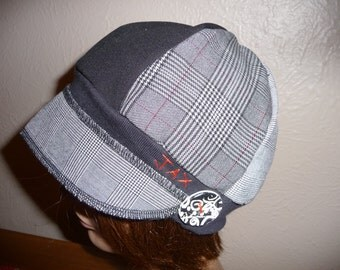 Small medium Jax Hats, black and red suit hat, upcycled hat, recycled clothing hat, chemo hat,  newsboy cap, flapper, houndstooth