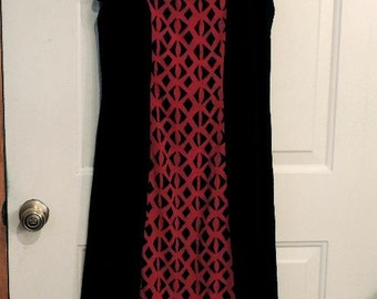 red and black gauze dress, casual dress, gauze clothing,