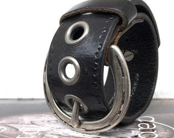 Black Leather Cuff Mini-Belt Bracelet with Horseshoe Buckle, Adjustable, EcoFriendly, OOAK