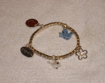 Little girl rhinestone charm bracelet (Cute and sparkles) Animal/nature themed