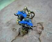 Sweet Sapphire Flower Drop Earrings, Dainty & Lightweight, Gift Under 30, Everyday Favorites, Blue Fairy Flower Earrings, Elksong Jewelry
