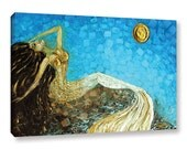 Mermaid PRINT on Canvas Art from Painting, Fantasy Wall Art Painting Print Impressionist Abstract Art by Susanna