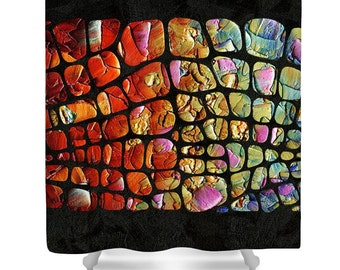 Colorful Shower Curtain, Modern Art, Black Funky Abstract Designer Art- colors design, colorful statement bathroom home decor by Susanna