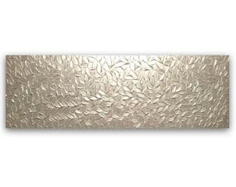"Large Abstract Painting 72""x24"" Original Textured Modern Art White Pearl Metallic Huge XL XXL Home Decor Wall Art palette knife by Susanna"